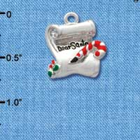 C1615 tlf - Letter Dear Santa - Silver Plated Charm (6 per package)
