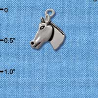 C1650* tlf - Horse Head - Im. Rhodium Plated Charm (6 per package)