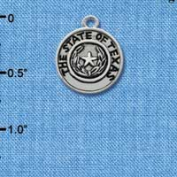 C1654 tlf - Texas State Seal - Im. Rhodium Plated Charm (6 per package)