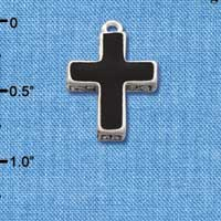 C1680 tlf - Cross Fancy Black - Silver Plated Charm (6 per package)