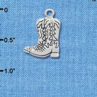 C1721* tlf - Boot Pair - Im. Rhodium Plated Charm (6 per package)