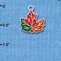 C1786 tlf - Leaf Orange - Silver Plated Charm (6 per package)