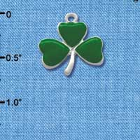 C1816* tlf - Medium Green Shamrock - Silver Plated Charm (6 per package)