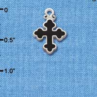 C1865 tlf - Small Black Enamel Botonee Cross - Silver Plated Charm (6 per package)