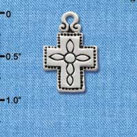 C1872 ctlf - Large Southwestern Antiqued Cross - Silver Plated Charm (6 per package)