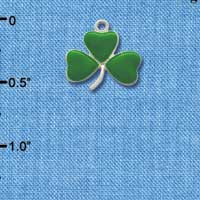 C1895* ctlf - Small Green Irish Shamrock Clover - Silver Plated Charm (6 per package)