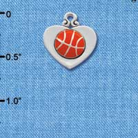 C1906 ctlf - Silver heart with basketball - Silver Plated Charm (6 per package)