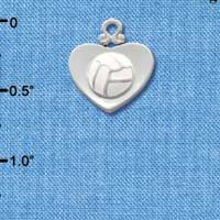 C1907 tlf - Silver Heart with Volleyball - Silver Plated Charm (6 per package)