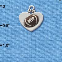 C1908 ctlf - Silver Heart with Football - Silver Plated Charm (6 per package)