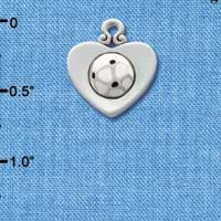 C1909 tlf - Silver Heart with Soccer Ball - Silver Plated Charm (6 per package)