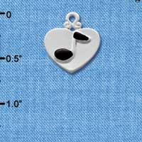C1910 tlf - Silver Heart with Music Note - Silver Plated Charm (6 per package)
