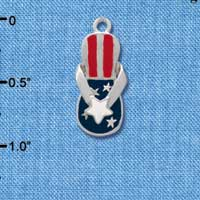 C1937 tlf - Flip Flop Patriot Star - Silver Plated Charm (6 per package)