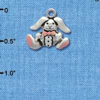 C1941* tlf - Silver Bunny with Easter Egg - Silver Plated Charm (6 per package)