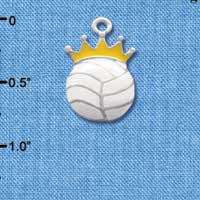 C1970 tlf - Volleyball with Crown - Silver Plated Charm (6 per package)