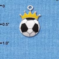 C1972 tlf - Soccer ball Crown - Silver Plated Charm (6 per package)