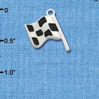 C2020* tlf - Checkered Flag Race - Silver Plated Charm (6 per package)