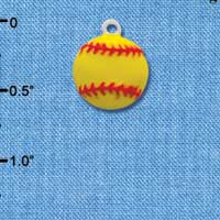 C2041 tlf - Softball Medium Optic Yellow - Silver Plated Charm (6 per package)