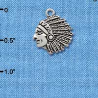 C2054* tlf - Large Indian - Mascot - Silver Plated Charm (6 per package)