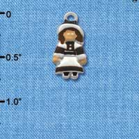 C2116 ctlf - Pilgrim Girl - Silver Plated Charm (6 per package)