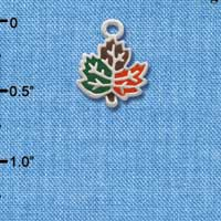 C2122 ctlf - Small Enamel Fall Leaf - Silver Plated Charm (6 per package)