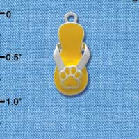 C2154 - Paw Flip Flop Yellow - Silver Plated Charm (6 per package)
