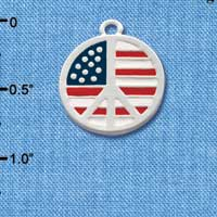 C2171 ctlf - USA Peace Sign - Silver Plated Charm (6 per package)