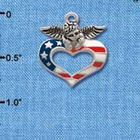 C2172 ctlf - Patriotic Angel Heart - Silver Plated Charm (6 per package)