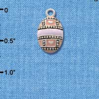 C2189 ctlf - Egg Pink & Lavender - Silver Plated Charm (6 per package)