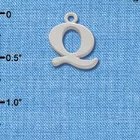 C2281 ctlf - Large Initial - Q - Silver Plated Charm (6 per package)