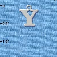 C2289 ctlf - Large Initial - Y - Silver Plated Charm (6 per package)