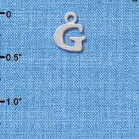 C2297 ctlf - Small Initial - G - Silver Plated Charm (6 per package)