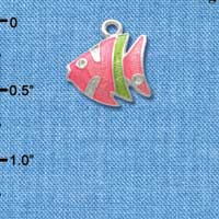 C2431* ctlf - Tropical Fish - Hot Pink with Lime Green Stripe - Silver Plated Charm (Left & Right) (6 per package)
