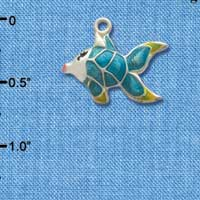 C2433* ctlf - Tropical Fish - Blue with Yellow Fins - Silver Plated Charm (Left & Right) (6 per package)