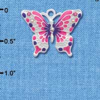C2440 tlf - Hot Pink and Purple Butterfly Charm with AB Crystals - Silver Plated Charm (6 per package)
