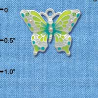 C2441 tlf - Lime Green & Blue Butterfly Charm with AB Crystals - Silver Plated Charm (6 per package)