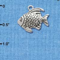 C2476* tlf - Antiqued Fish - Silver Plated Charm (Left & Right) (6 per package)