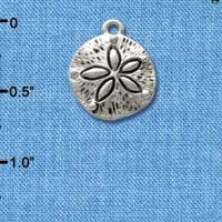 C2478 ctlf - Antiqued Sand Dollar - Silver Plated Charm (6 per package)