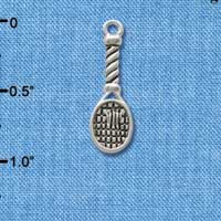 C2495 tlf - Tennis Racquet - Silver Plated Charm (6 per package)