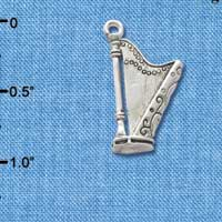 C2505+ - Harp - Silver Plated Charm (6 per package)