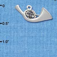 C2511 ctlf - French Horn - Silver Plated Charm (6 per package)