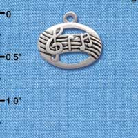 C2516 tlf - Oval with Music Notes - Silver Plated Charm (6 per package)