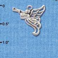 C2518* tlf - Trumpeter Angel - Silver - Silver Plated Charm (Left & Right) (6 per package)