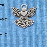 C2520 tlf - Silver Angel with Heart - Silver Plated Charm (6 per package)