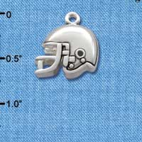 C2522* tlf - Small Silver Football Helmet - Silver Plated Charm (Left & Right) (6 per package)