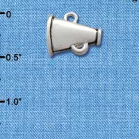 C2524* tlf - Small Silver Megaphone - Silver Plated Charm (6 per package)