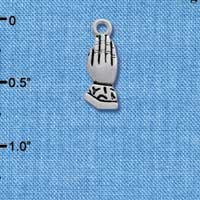 C2538+ tlf - Praying Hands - Silver Plated Charm (3-D) (6 per package)