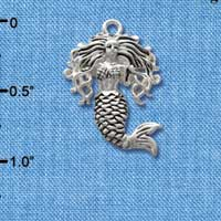 C2582* tlf - Mermaid - Silver Plated Charm (Left and Right) (6 per package)
