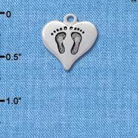 C2584 tlf - Heart with Baby Feet - Silver Plated Charm (6 per package)
