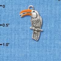 C2587* ctlf - Toucan - Silver Plated Charm (Left and Right) (6 per package)