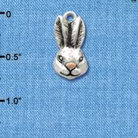 C2593 ctlf - Antiqued Bunny Head - Silver Plated Charm (6 per package)